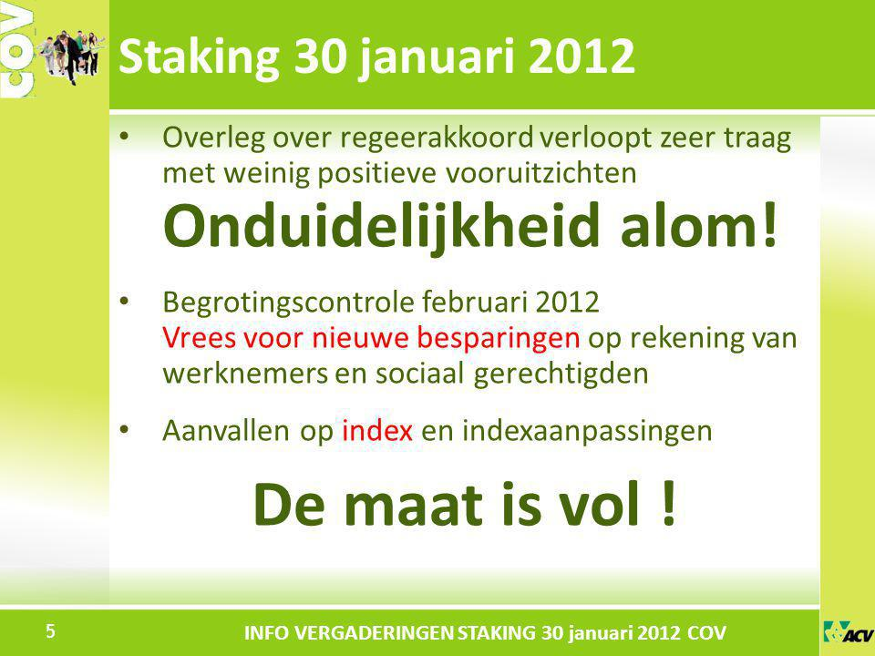 De maat is vol ! Staking 30 januari 2012