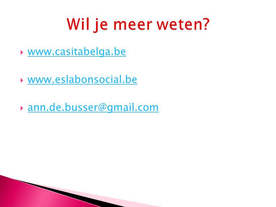 Wil je meer weten www.casitabelga.be www.eslabonsocial.be