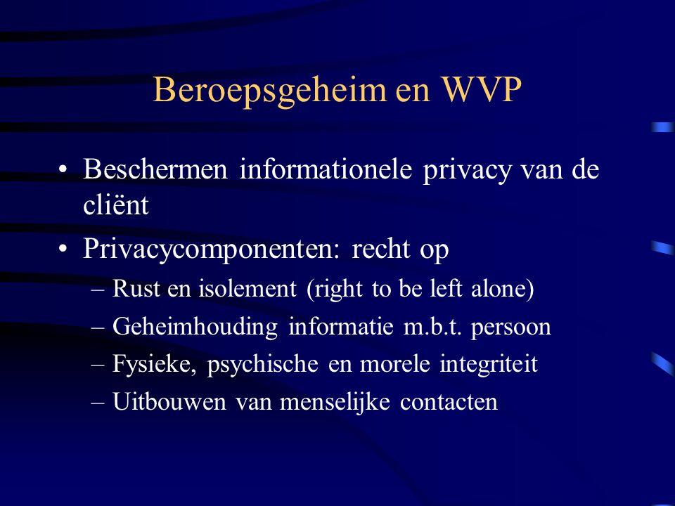 Beroepsgeheim en WVP Beschermen informationele privacy van de cliënt
