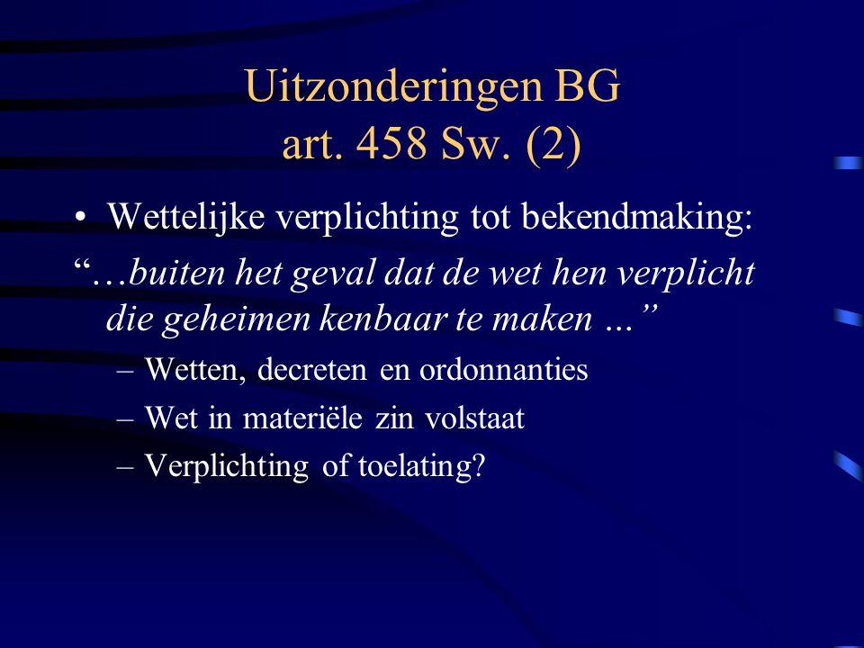 Uitzonderingen BG art. 458 Sw. (2)
