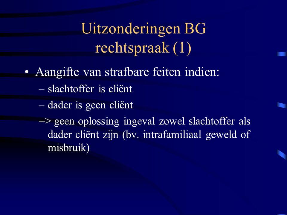 Uitzonderingen BG rechtspraak (1)