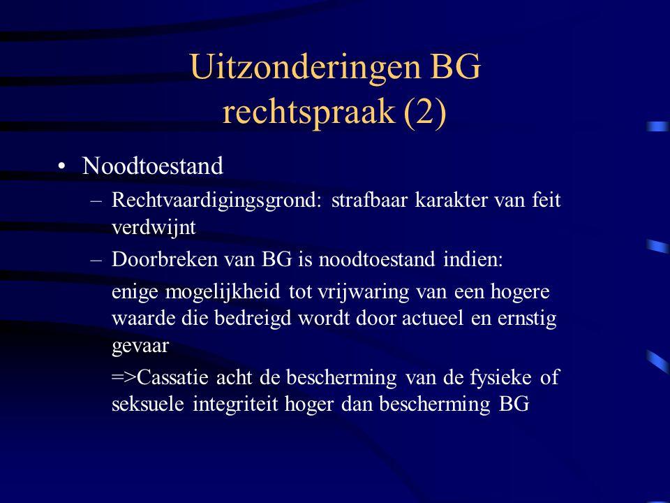 Uitzonderingen BG rechtspraak (2)