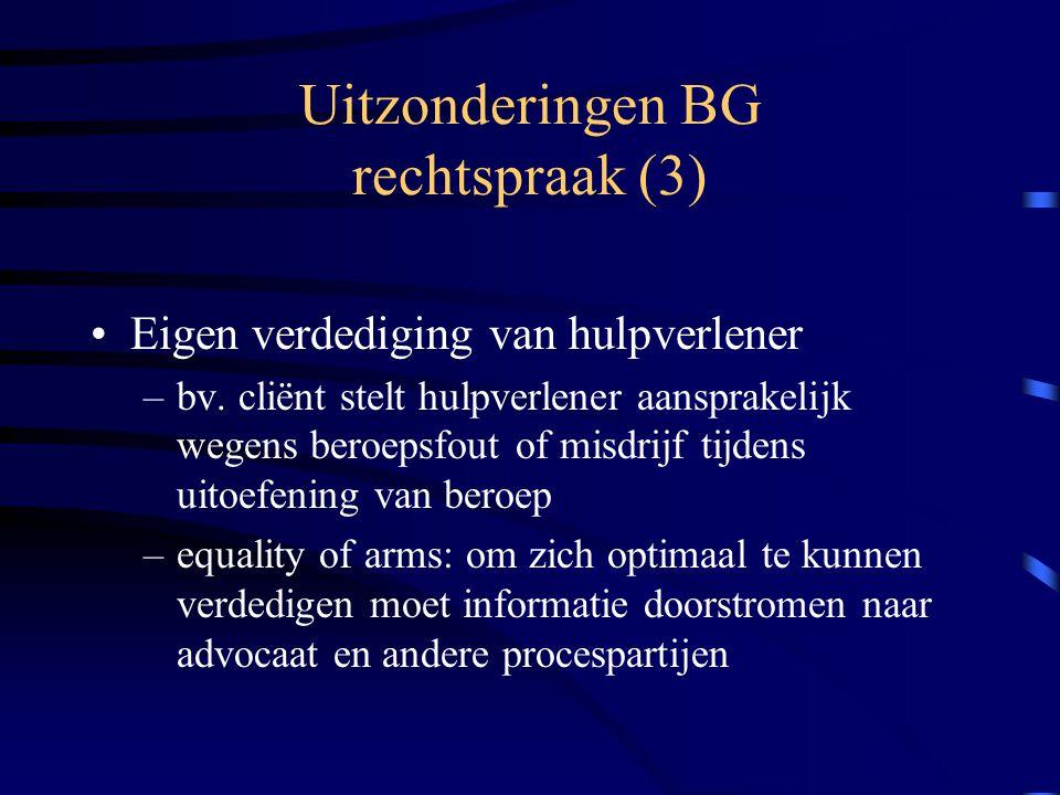Uitzonderingen BG rechtspraak (3)