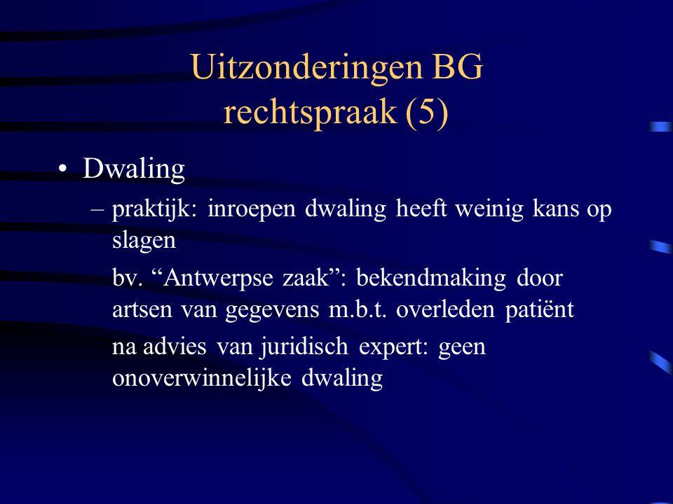Uitzonderingen BG rechtspraak (5)