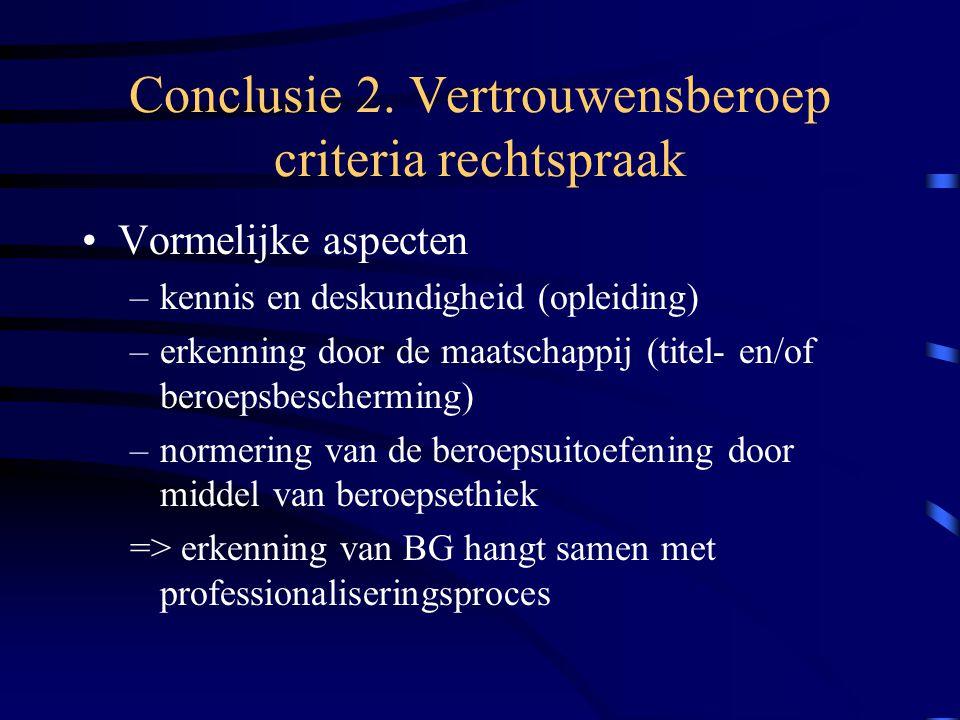 Conclusie 2. Vertrouwensberoep criteria rechtspraak