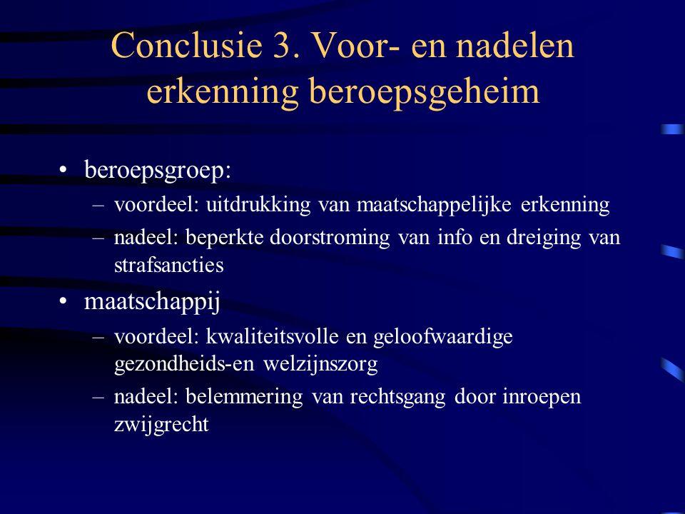 Conclusie 3. Voor- en nadelen erkenning beroepsgeheim