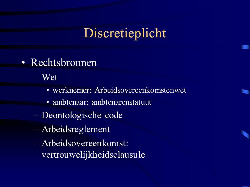 Discretieplicht Rechtsbronnen Wet Deontologische code Arbeidsreglement