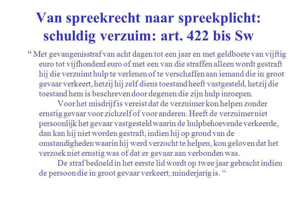 Van spreekrecht naar spreekplicht: schuldig verzuim: art. 422 bis Sw