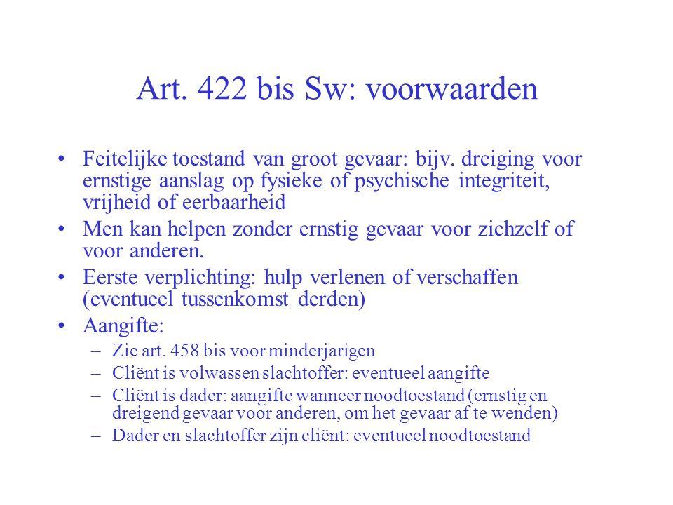 Art. 422 bis Sw: voorwaarden
