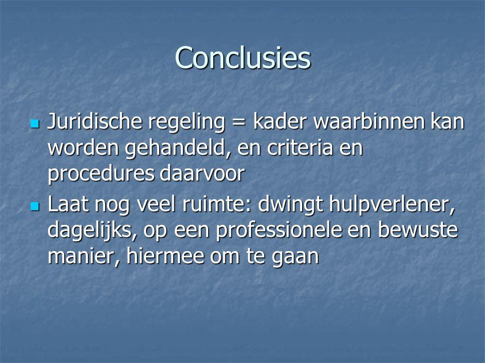 Conclusies Juridische regeling = kader waarbinnen kan worden gehandeld, en criteria en procedures daarvoor.