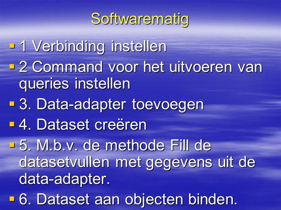 Softwarematig 1 Verbinding instellen. 2 Command voor het uitvoeren van queries instellen. 3. Data-adapter toevoegen.