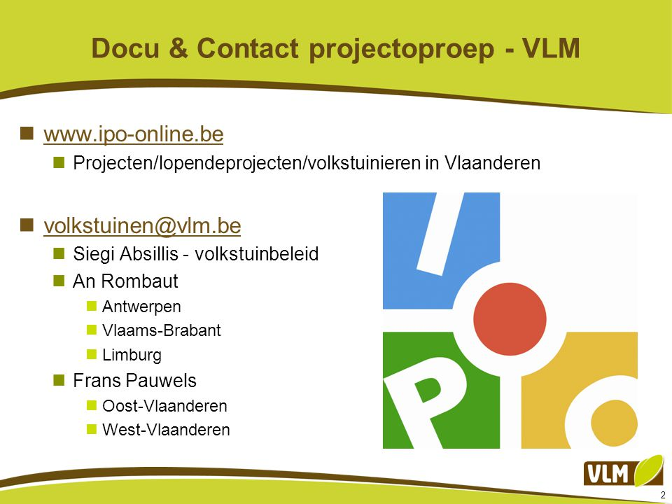 Docu & Contact projectoproep - VLM
