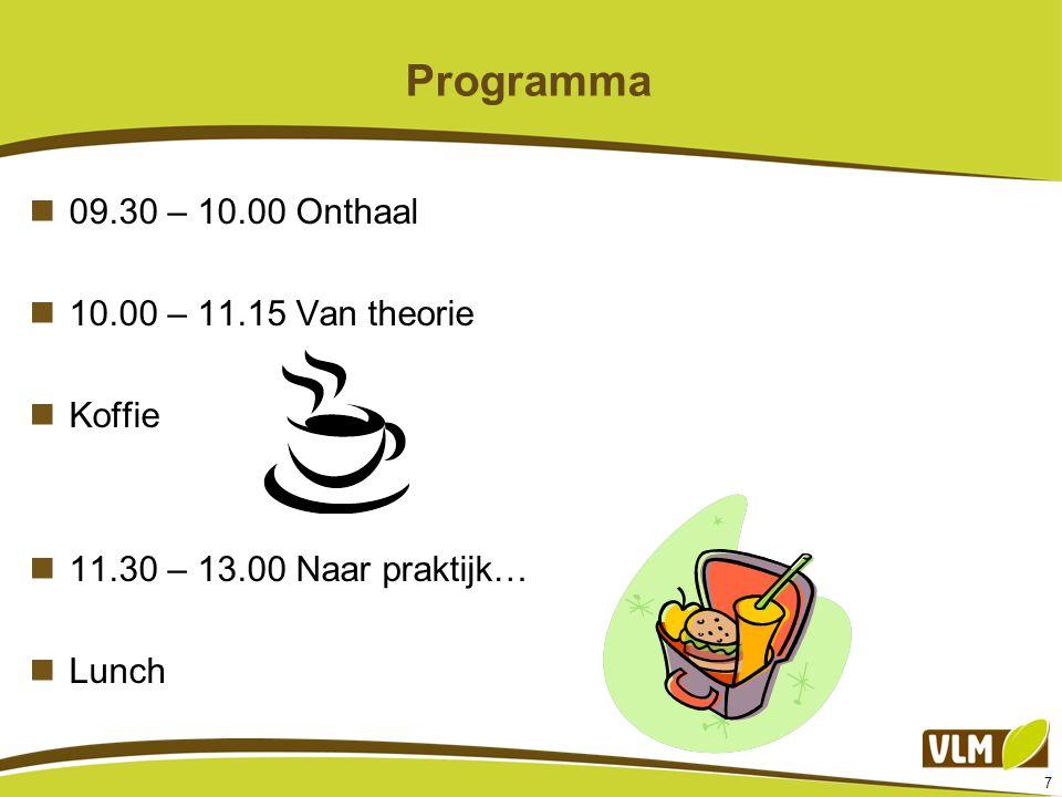 Programma 09.30 – 10.00 Onthaal 10.00 – 11.15 Van theorie Koffie