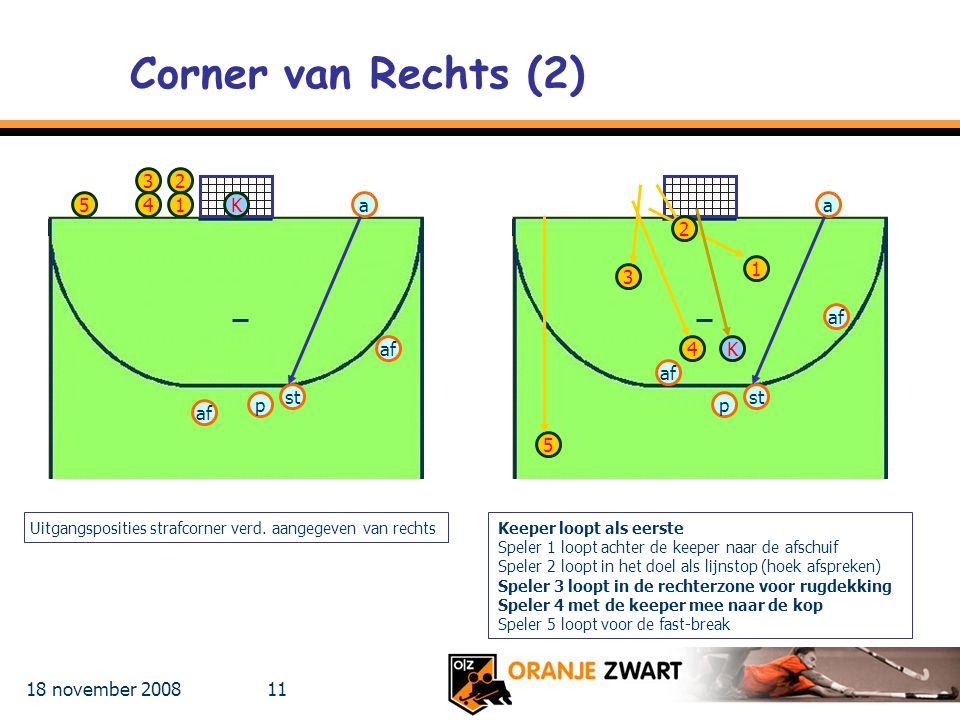 Corner van Rechts (2) 3 2 5 4 1 K a a 2 1 3 af af 4 K af st st p p af
