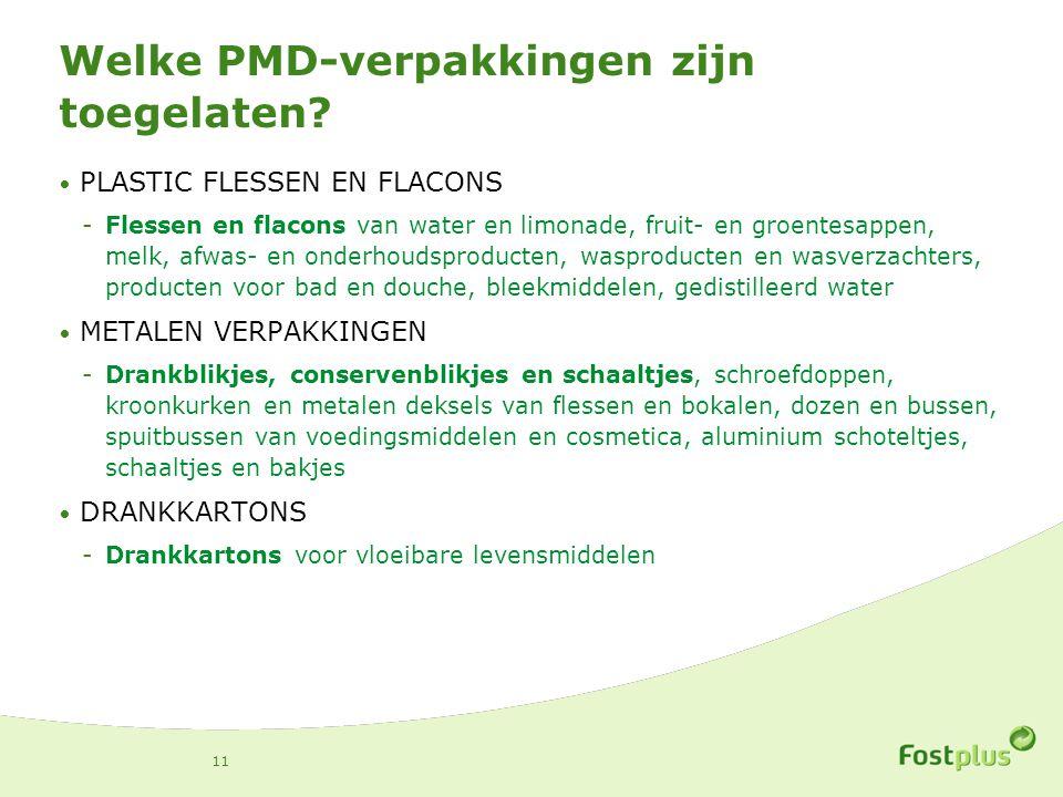 Welke PMD-verpakkingen zijn toegelaten