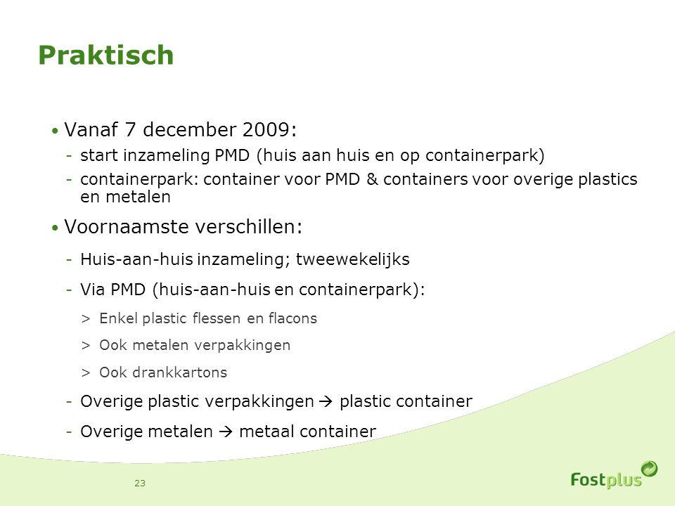 Praktisch Vanaf 7 december 2009: Voornaamste verschillen: