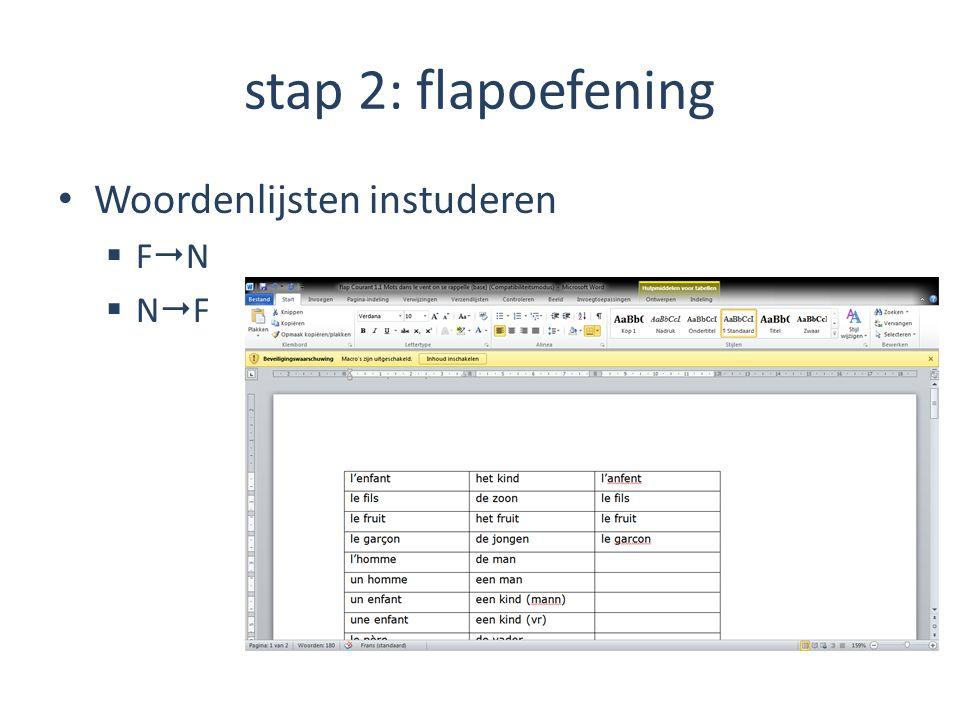 stap 2: flapoefening Woordenlijsten instuderen FN NF
