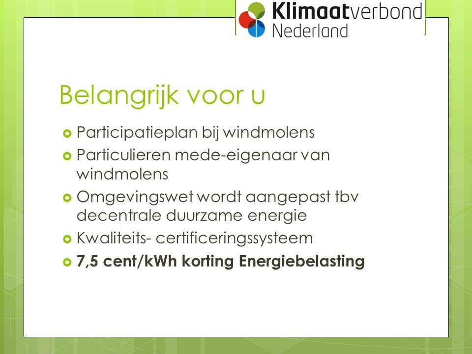 Belangrijk voor u Participatieplan bij windmolens