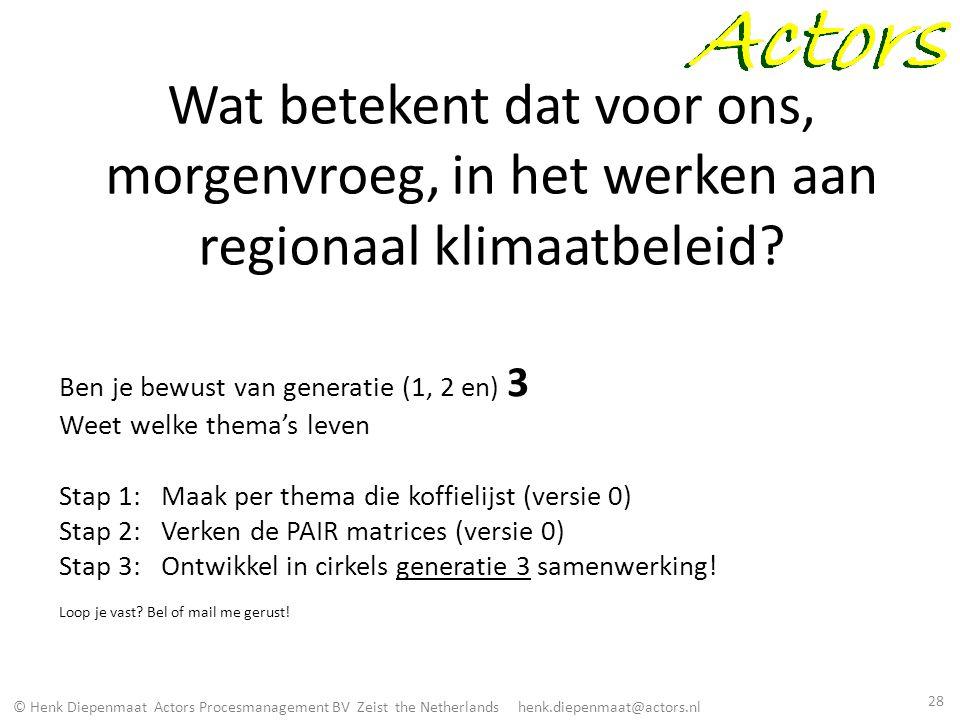 Wat betekent dat voor ons, morgenvroeg, in het werken aan regionaal klimaatbeleid