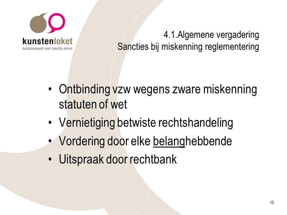 4.1.Algemene vergadering Sancties bij miskenning reglementering