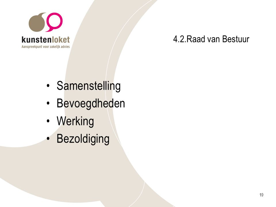 4.2.Raad van Bestuur Samenstelling Bevoegdheden Werking Bezoldiging