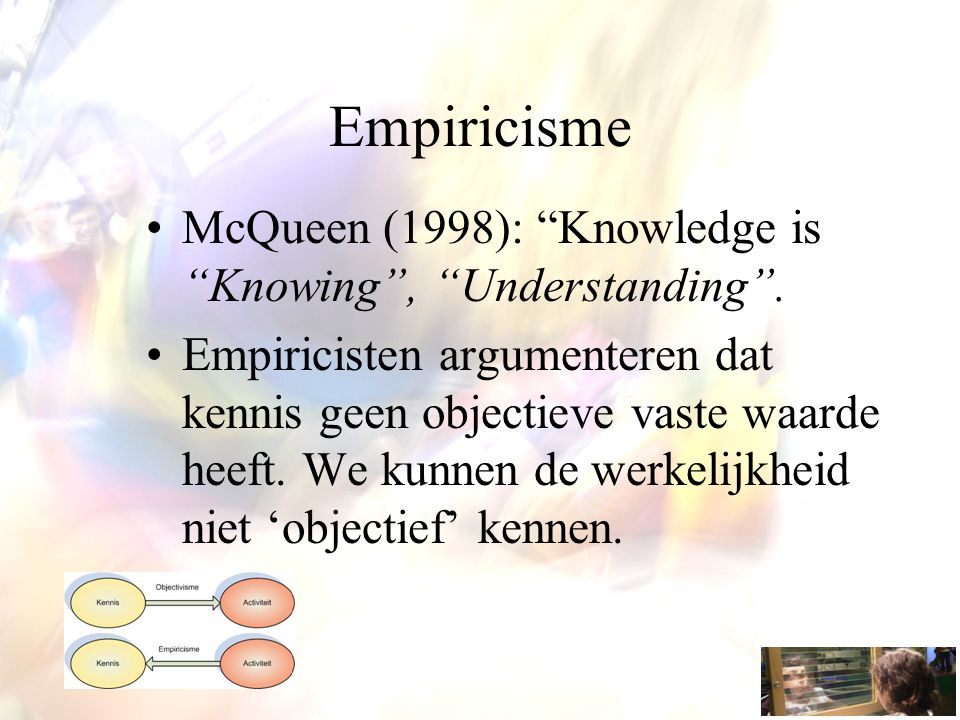 Empiricisme McQueen (1998): Knowledge is Knowing , Understanding .