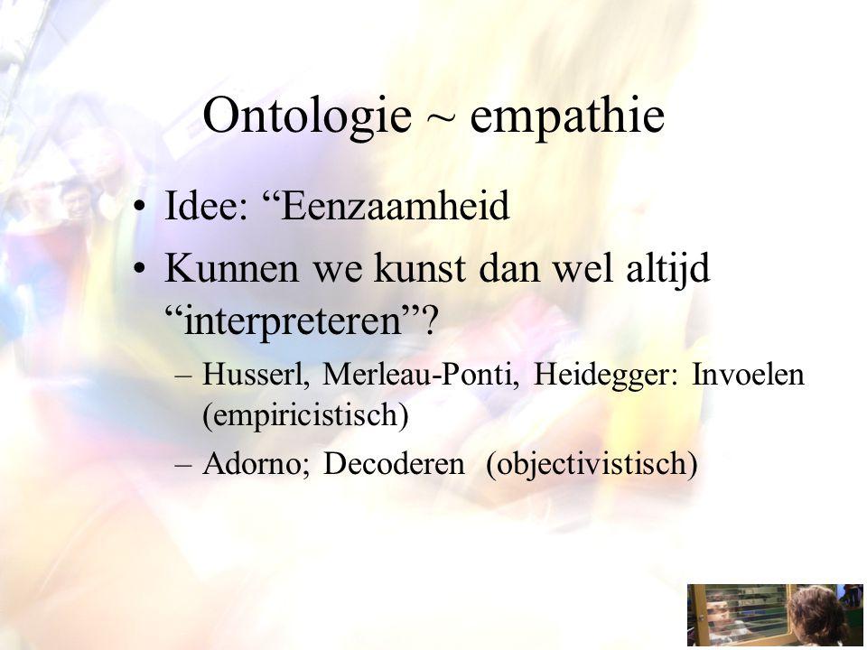 Ontologie ~ empathie Idee: Eenzaamheid