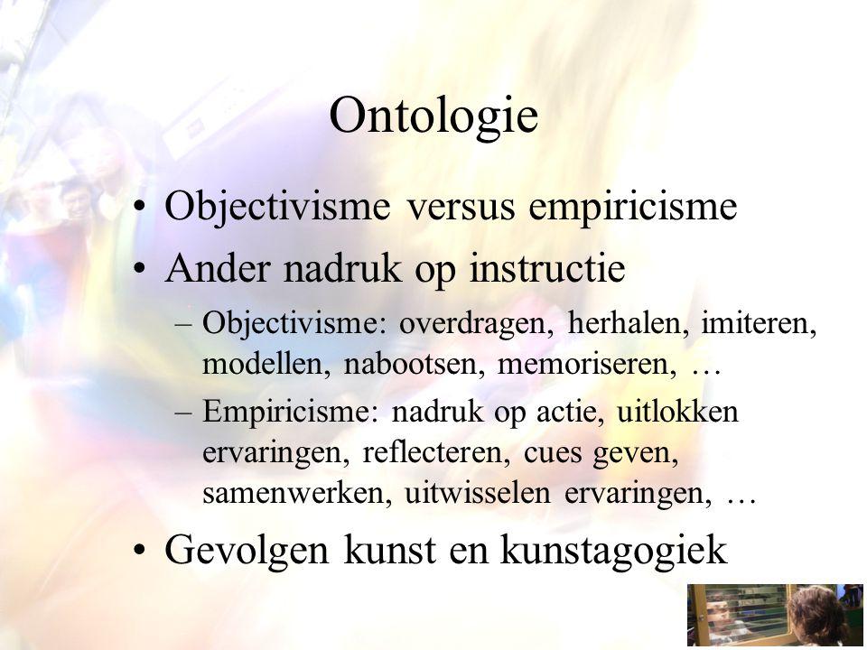 Ontologie Objectivisme versus empiricisme Ander nadruk op instructie