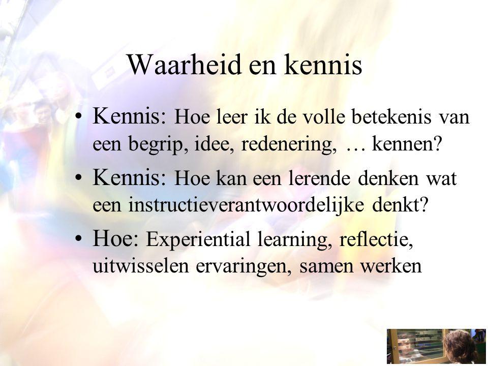 Waarheid en kennis Kennis: Hoe leer ik de volle betekenis van een begrip, idee, redenering, … kennen