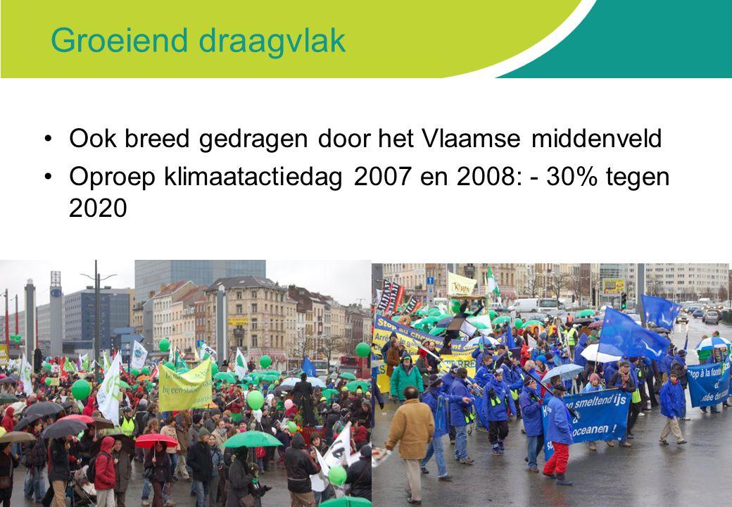 Groeiend draagvlak Ook breed gedragen door het Vlaamse middenveld