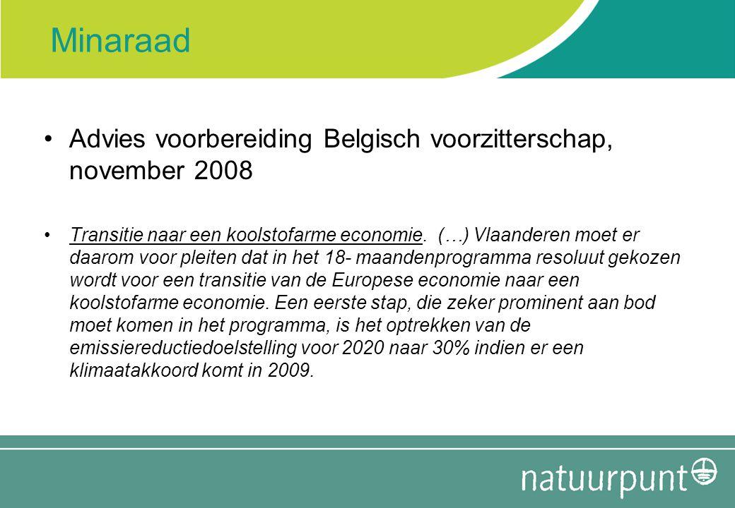 Minaraad Advies voorbereiding Belgisch voorzitterschap, november 2008