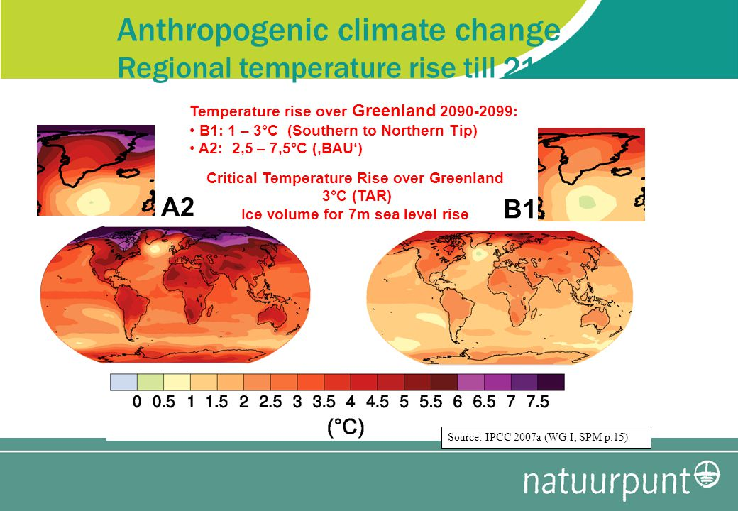 Anthropogenic climate change Regional temperature rise till 2100