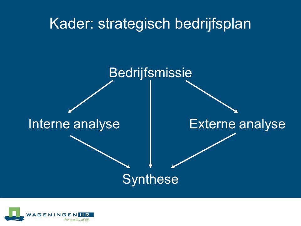Kader: strategisch bedrijfsplan