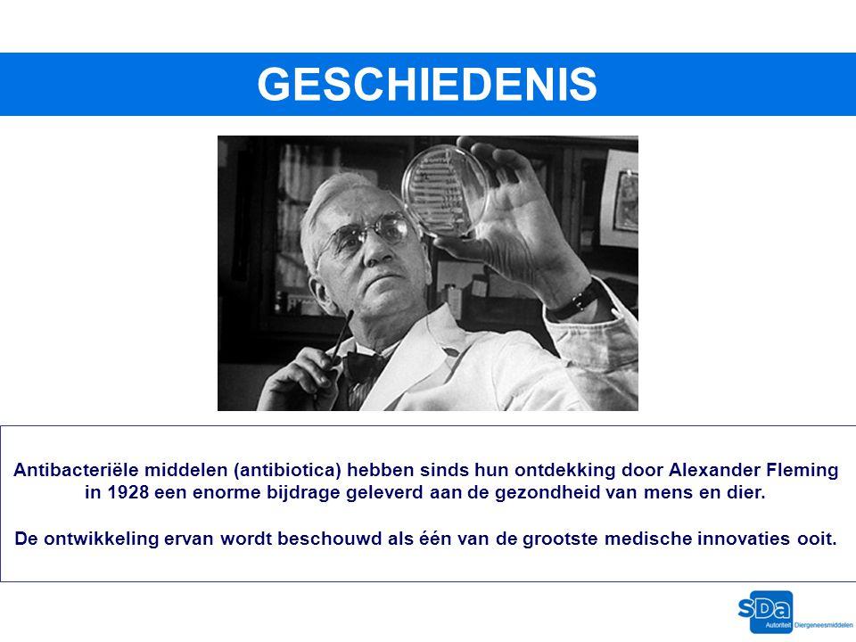 GESCHIEDENIS Antibacteriële middelen (antibiotica) hebben sinds hun ontdekking door Alexander Fleming.