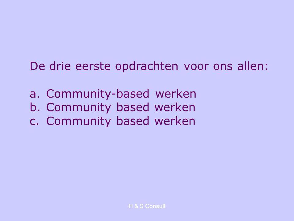 De drie eerste opdrachten voor ons allen: Community-based werken