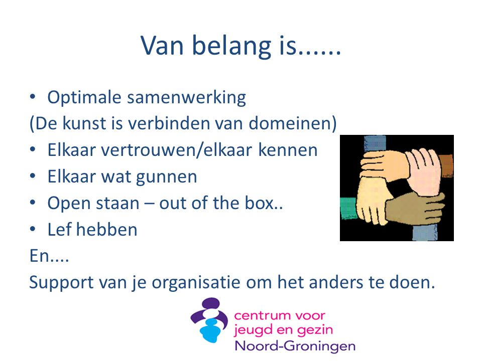 Van belang is...... Optimale samenwerking