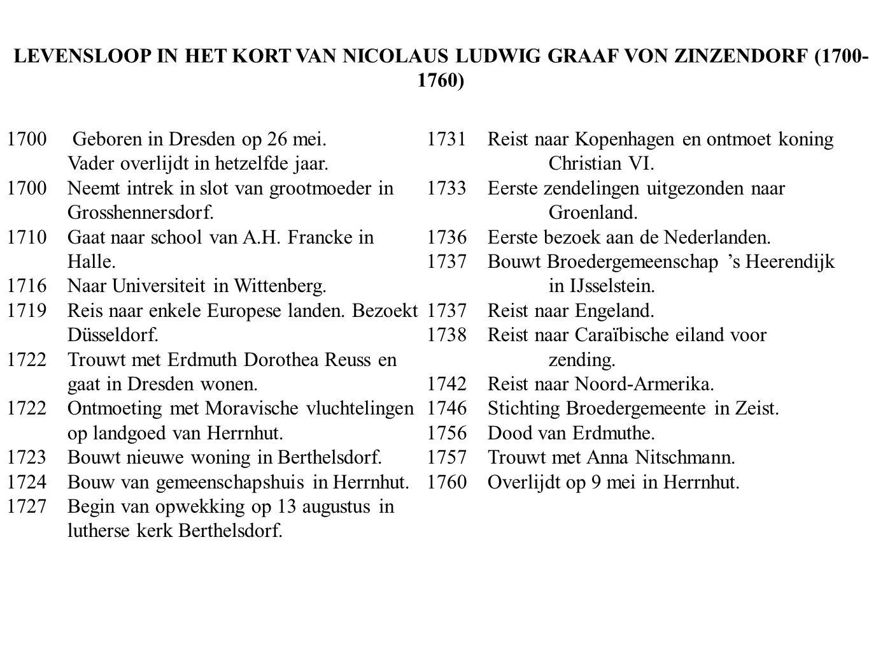 LEVENSLOOP IN HET KORT VAN NICOLAUS LUDWIG GRAAF VON ZINZENDORF (1700- 1760)