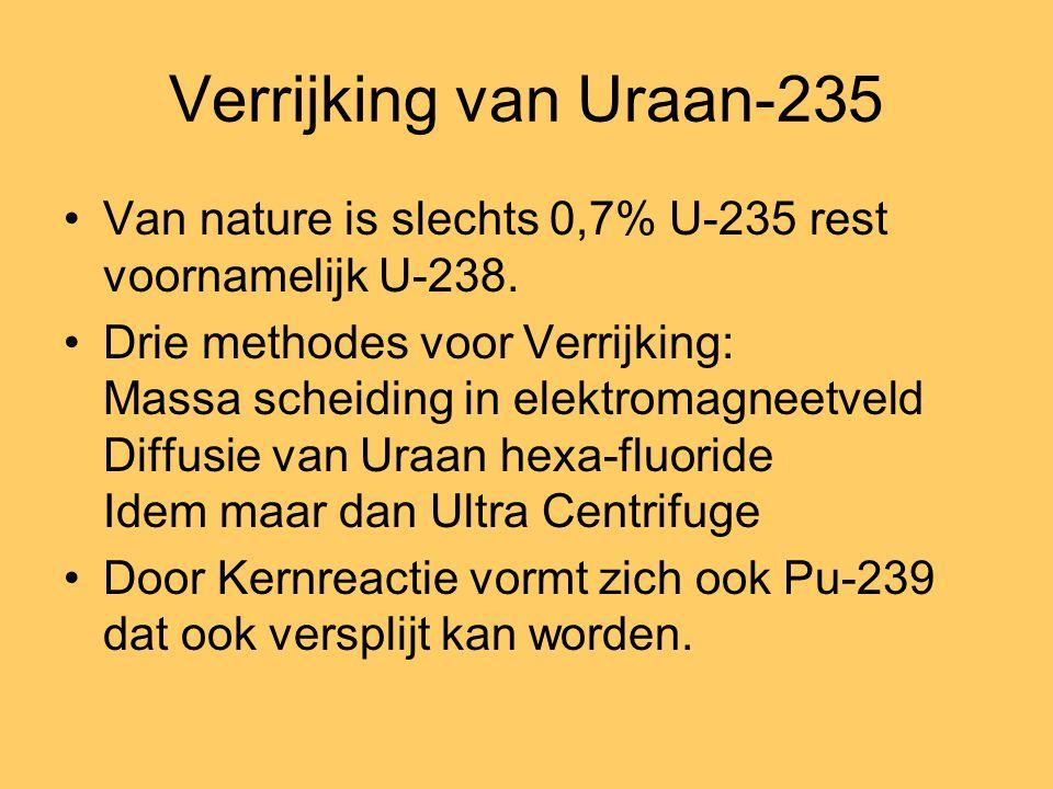 Verrijking van Uraan-235 Van nature is slechts 0,7% U-235 rest voornamelijk U-238.