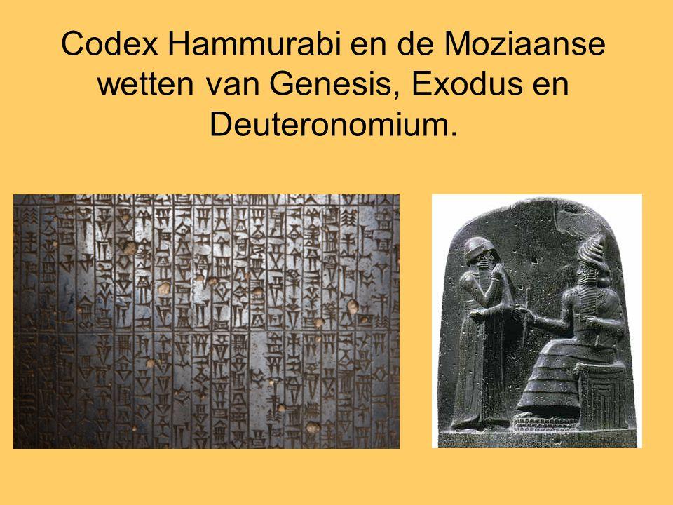 Codex Hammurabi en de Moziaanse wetten van Genesis, Exodus en Deuteronomium.