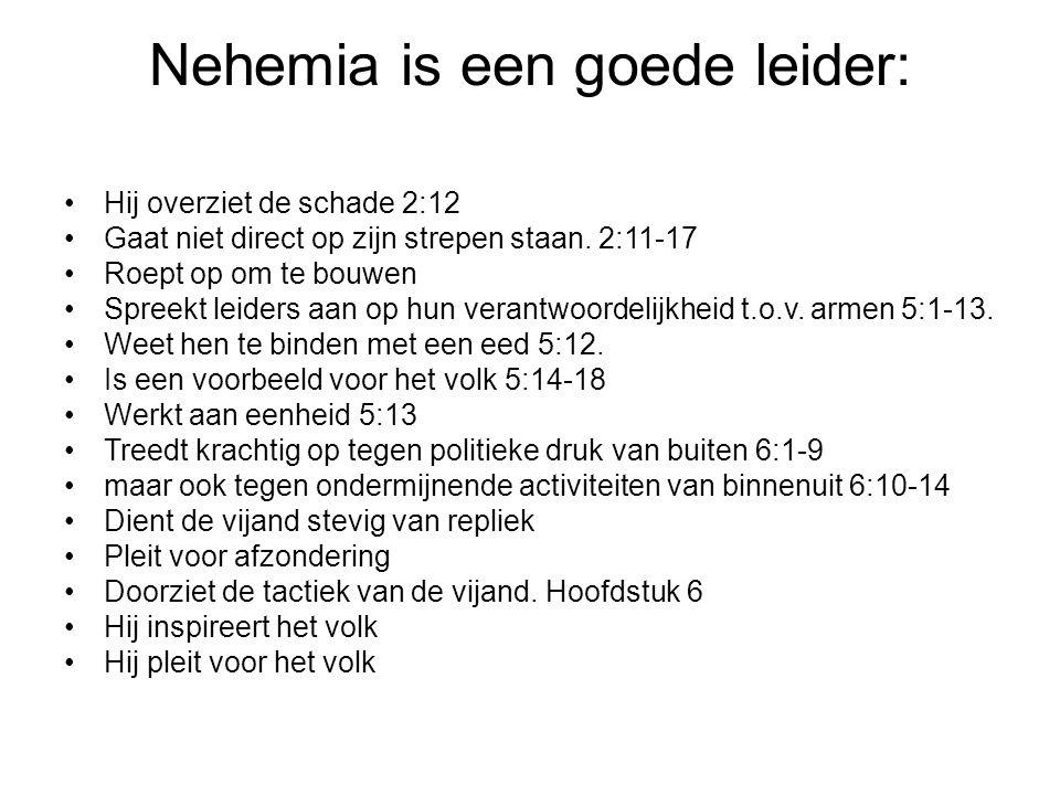 Nehemia is een goede leider: