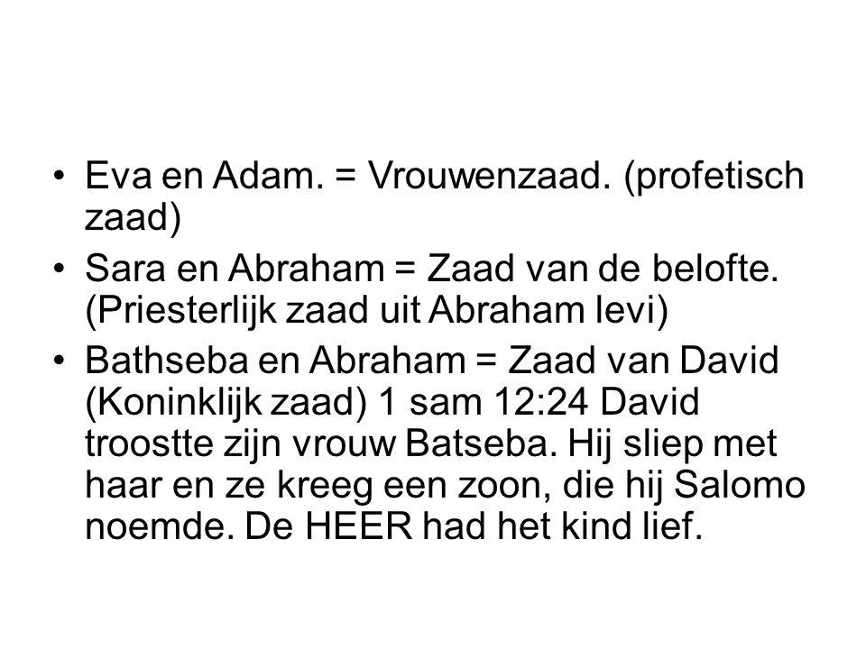 Eva en Adam. = Vrouwenzaad. (profetisch zaad)