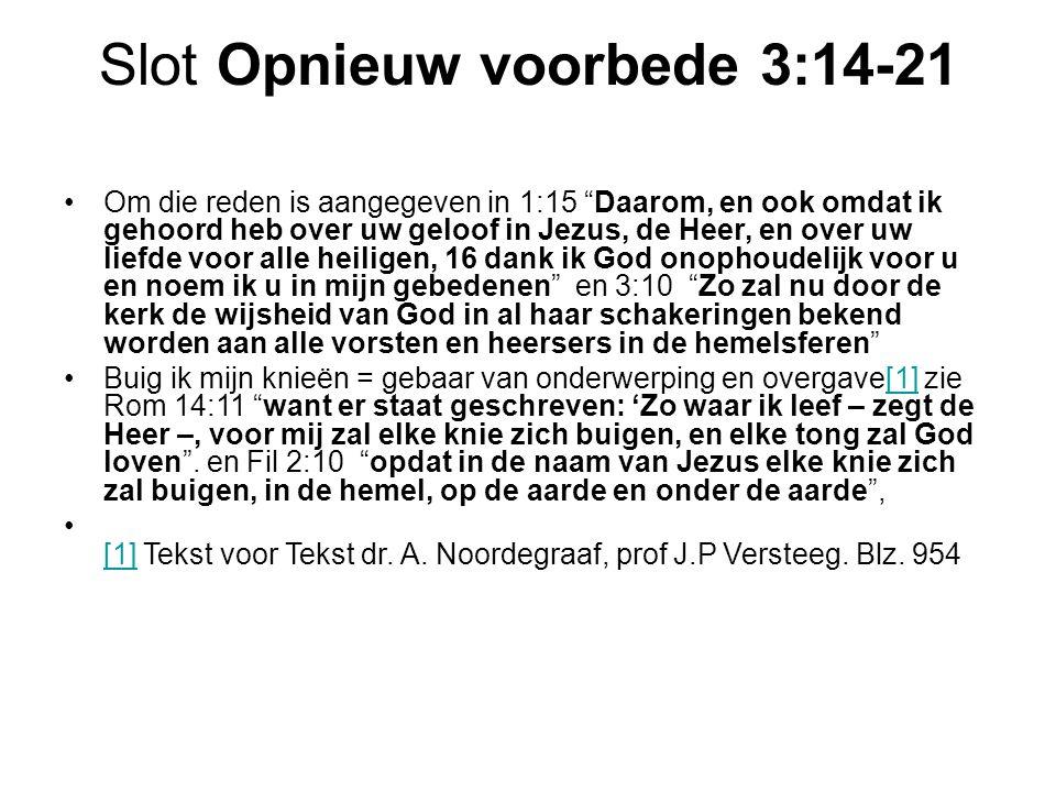 Slot Opnieuw voorbede 3:14-21