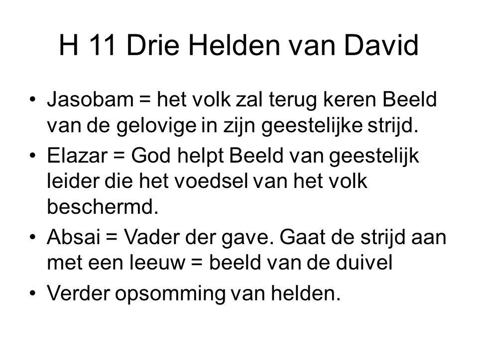 H 11 Drie Helden van David Jasobam = het volk zal terug keren Beeld van de gelovige in zijn geestelijke strijd.