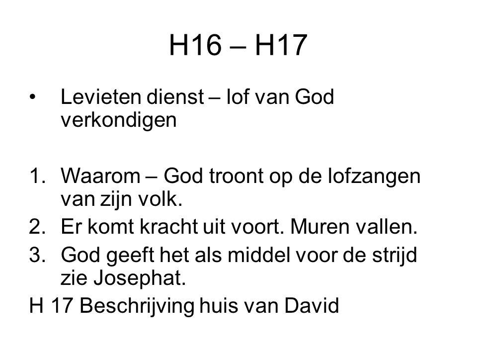 H16 – H17 Levieten dienst – lof van God verkondigen