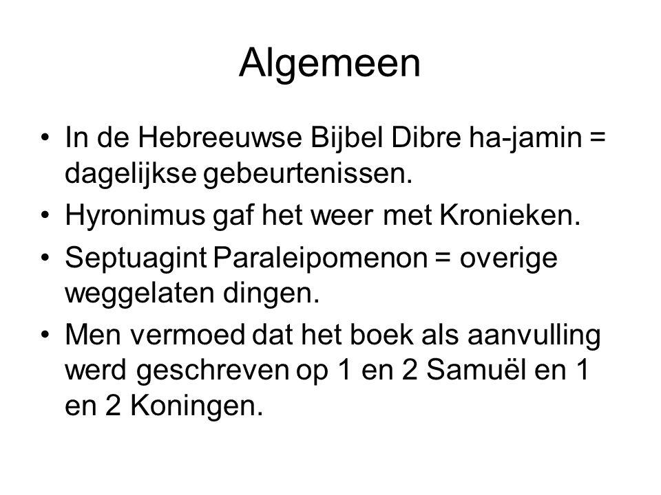 Algemeen In de Hebreeuwse Bijbel Dibre ha-jamin = dagelijkse gebeurtenissen. Hyronimus gaf het weer met Kronieken.
