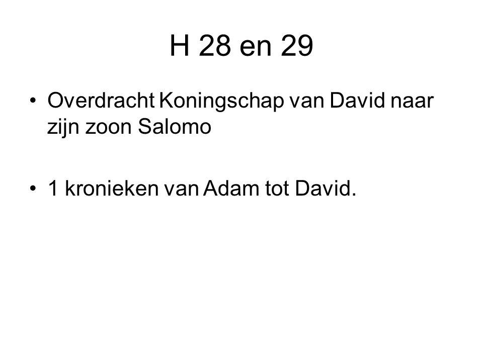 H 28 en 29 Overdracht Koningschap van David naar zijn zoon Salomo