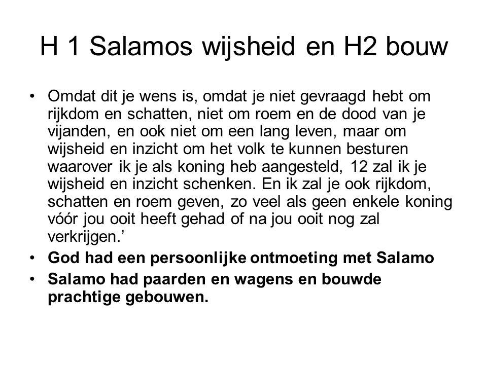 H 1 Salamos wijsheid en H2 bouw