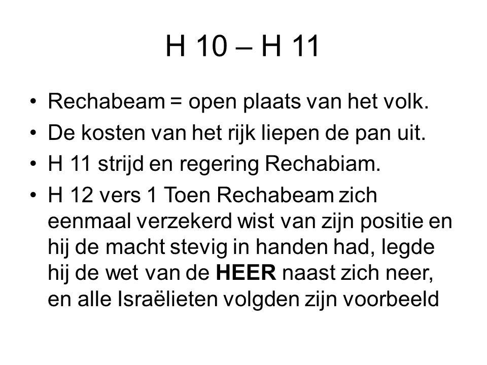 H 10 – H 11 Rechabeam = open plaats van het volk.