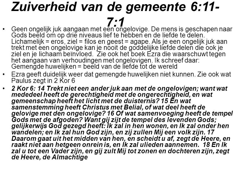 Zuiverheid van de gemeente 6:11-7:1