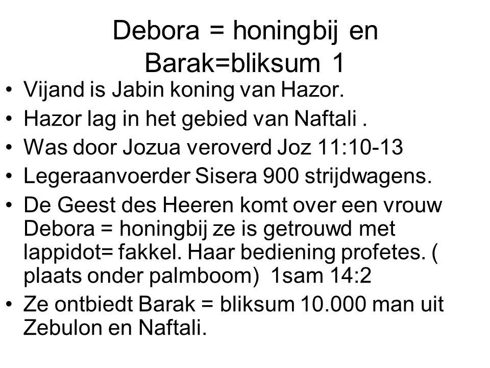 Debora = honingbij en Barak=bliksum 1
